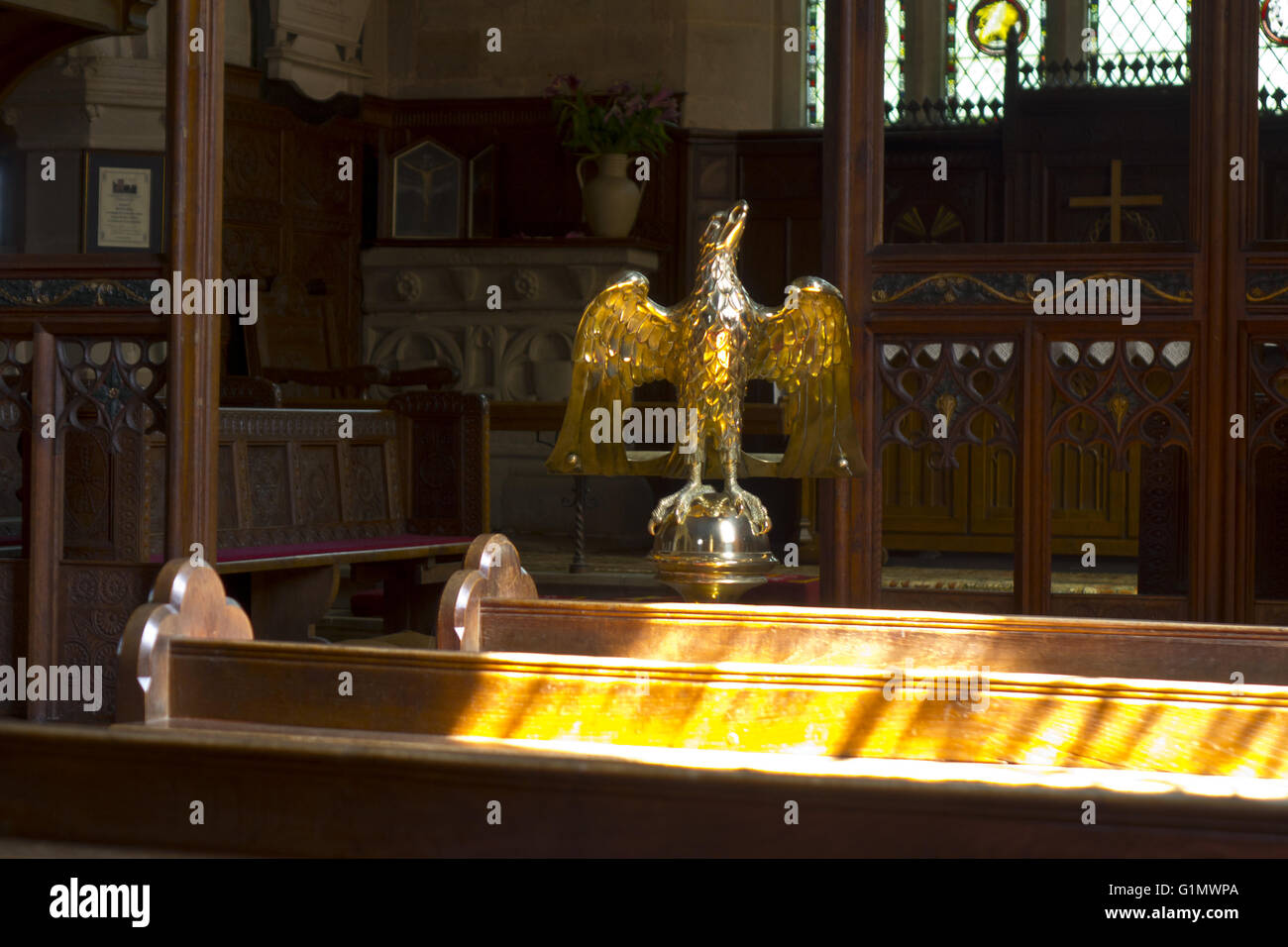 Brass eagle lectern - Stock Image