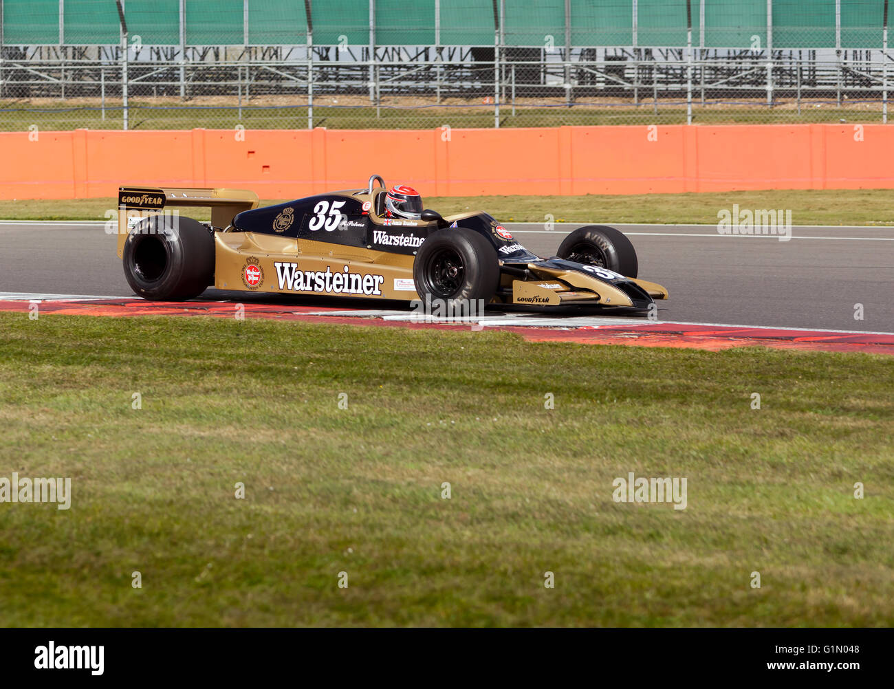 Jamie Brashaw, driving an Arrows FA1 Formula One Car, during the Silverstone Classic Media Test Day 2016 - Stock Image