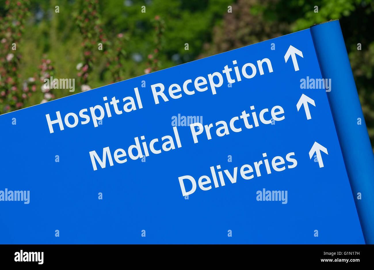 hospital reception board - Stock Image