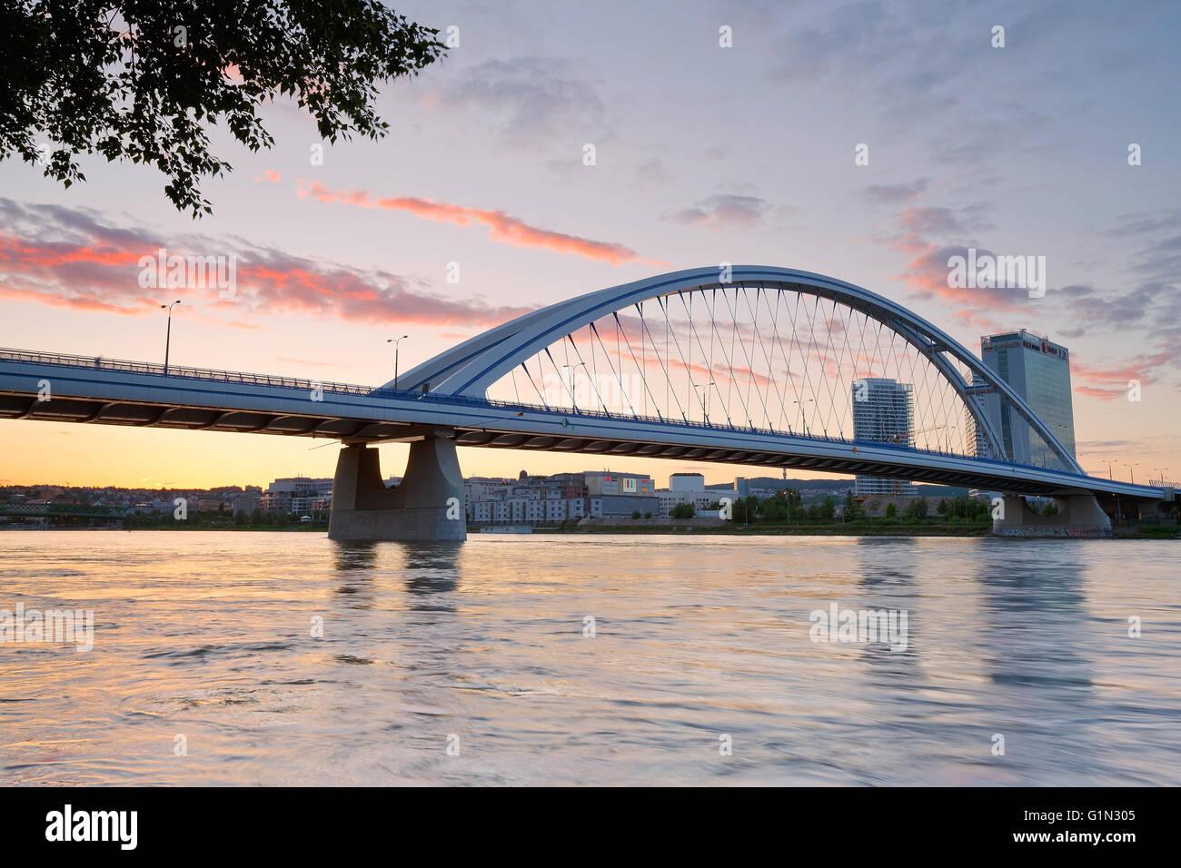 Apollo bridge over river Danube in Bratislava, Slovakia. Stock Photo