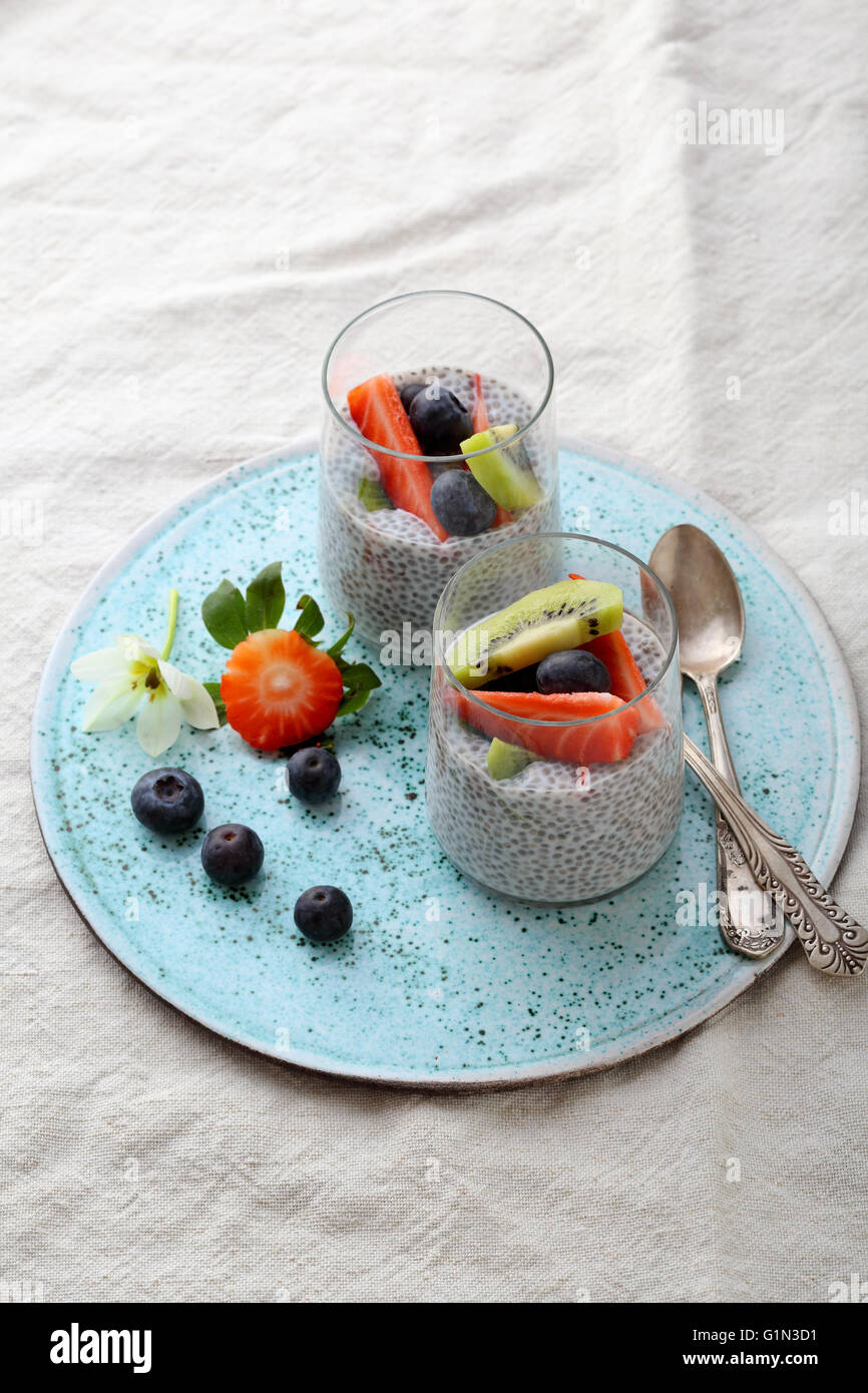 two morning pudding with chia, superfood - Stock Image