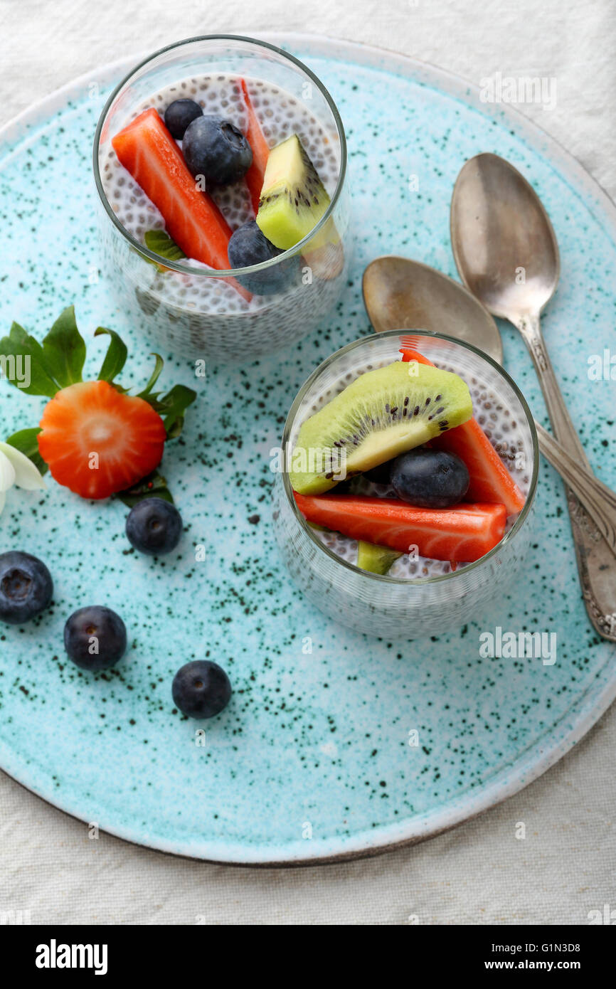 chia seeds smoothies, food top - Stock Image