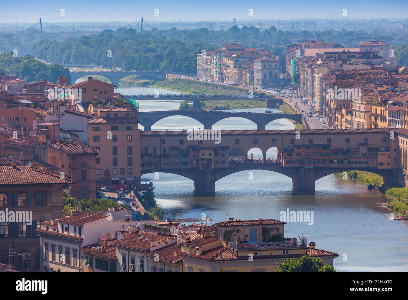 Florence, Florence Province, Tuscany, Italy.  View from Piazzale Michelangelo to bridges across Arno river. Stock Photo