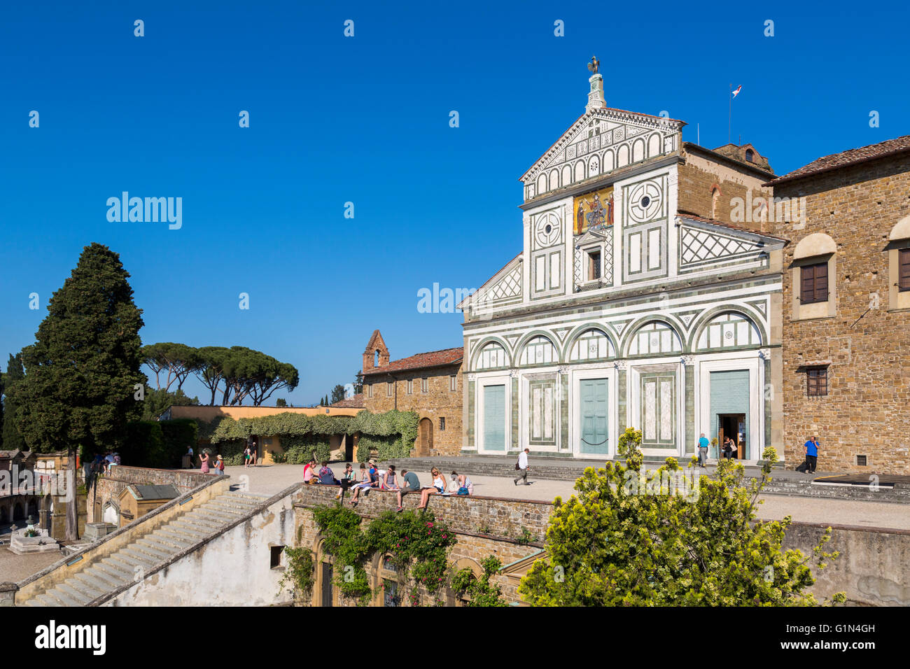 Florence, Florence Province, Tuscany, Italy.  San Miniato al Monte.  Exterior. - Stock Image