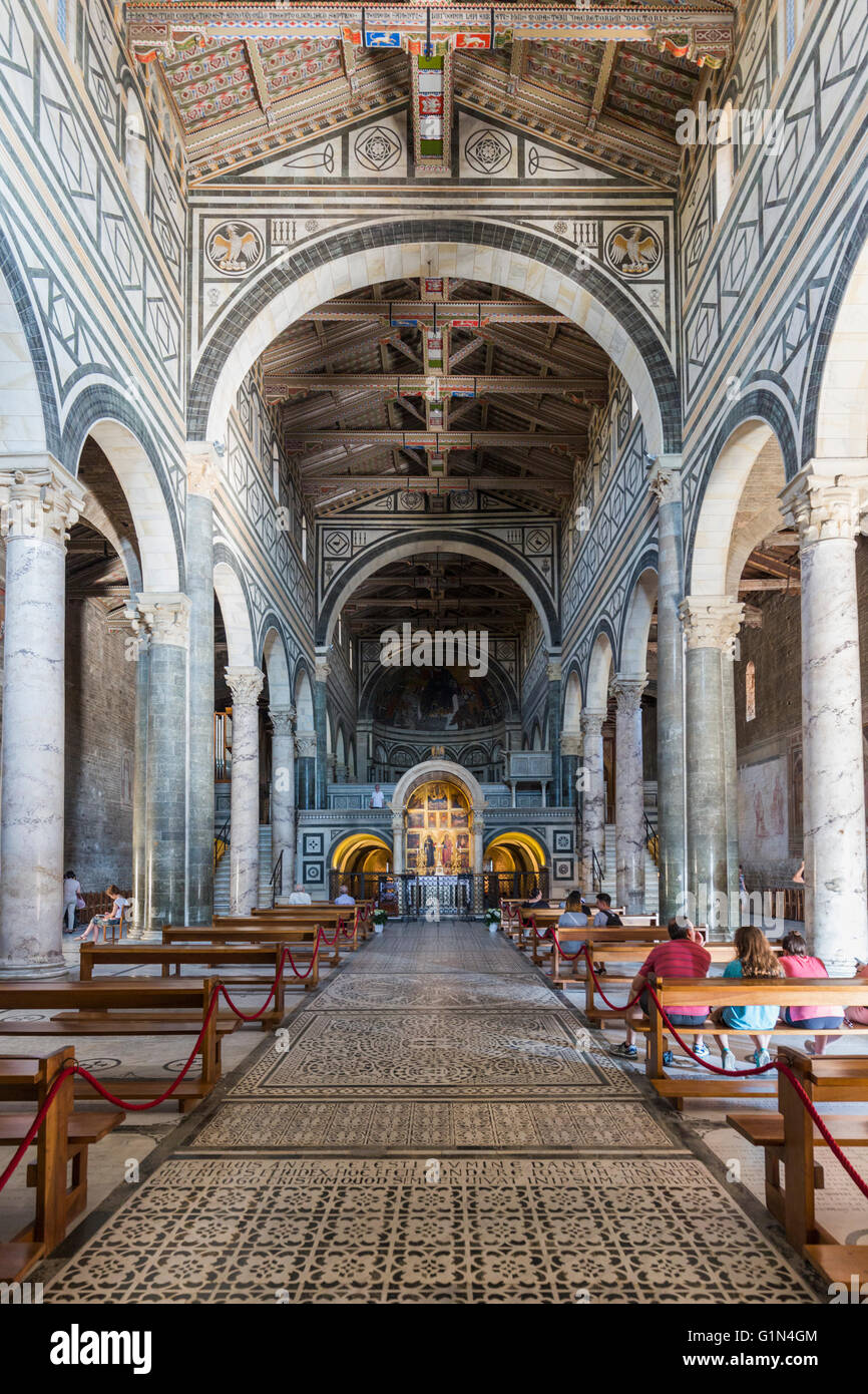Florence, Florence Province, Tuscany, Italy.  San Miniato al Monte.  Interior. - Stock Image
