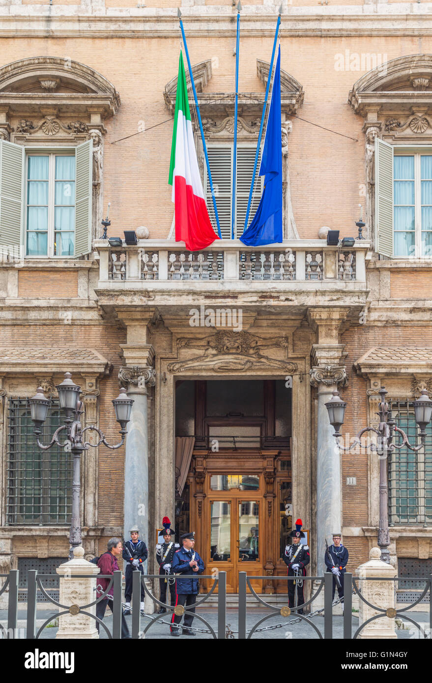 Rome, Italy.  Entrance to the Palazzo Madama.  The Palazzo is the seat of the Senate of the Italian Republic. - Stock Image