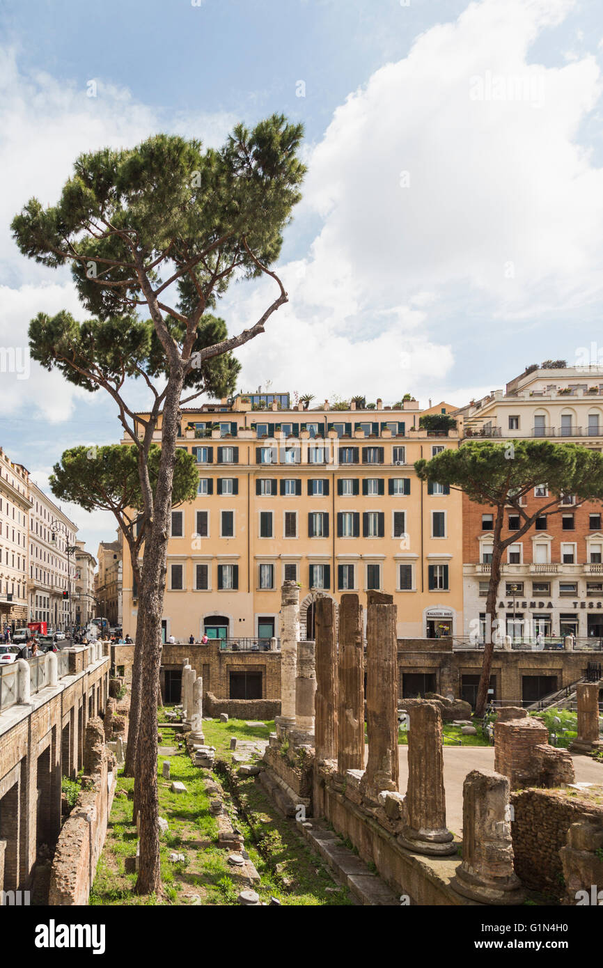 Rome, Italy.  Largo di Torre Argentina.  Ruins dating to the ancient Roman Republic.  They include the remains of Stock Photo