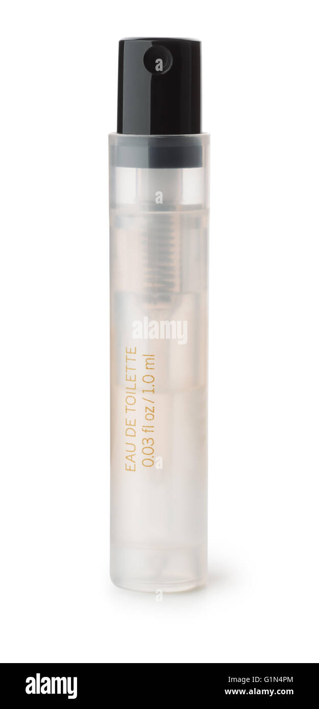 Small perfume sample bottle isolated on whte - Stock Image