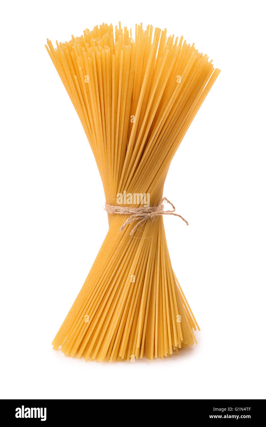 Bunch of italian pasta isolated on white - Stock Image