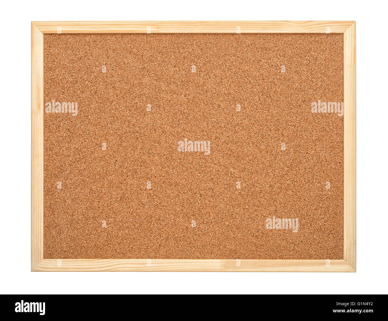 Blank cork board with wood frame isolated on white - Stock Image
