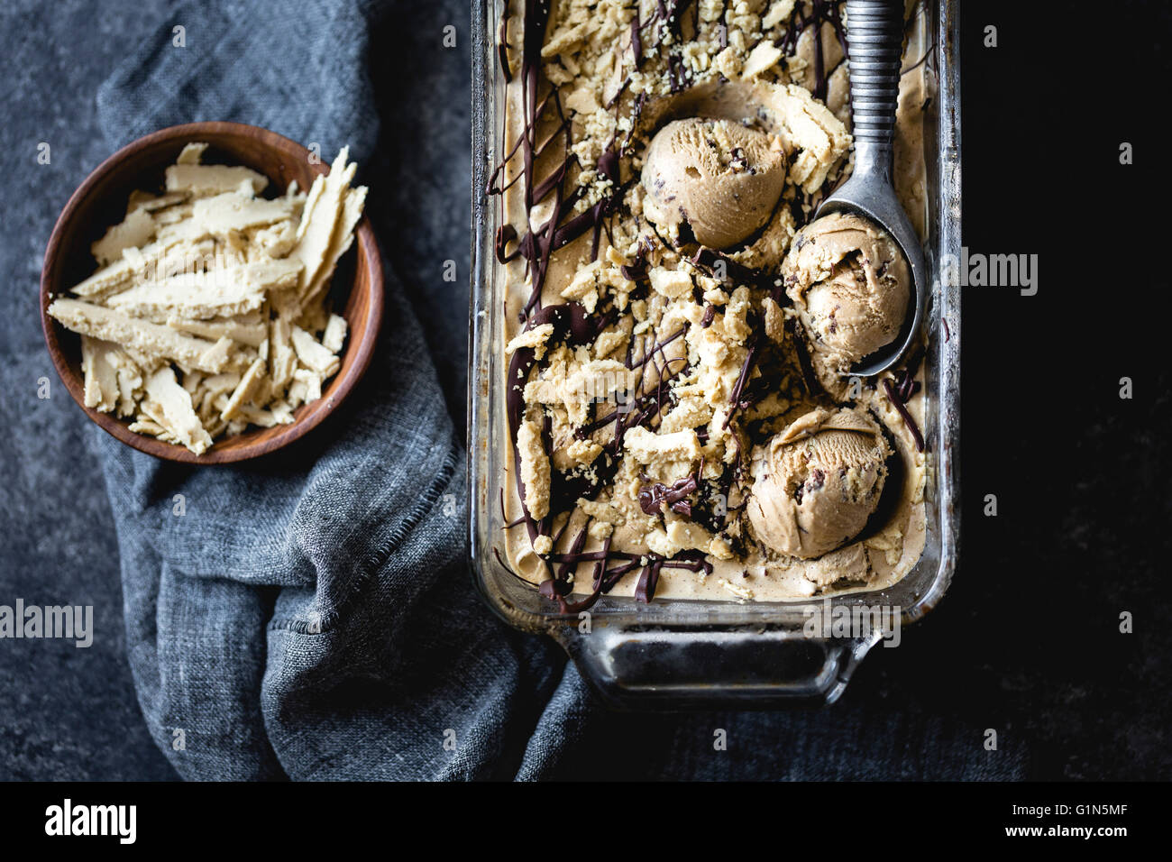 coffee halva chocolate chip ice cream - Stock Image