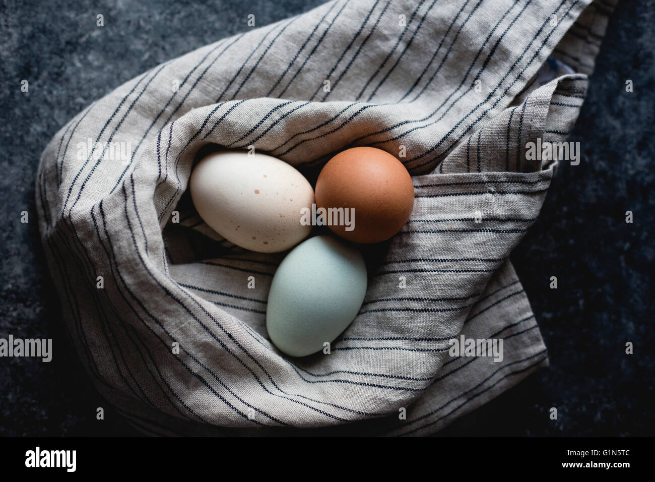 Various colored eggs - Stock Image