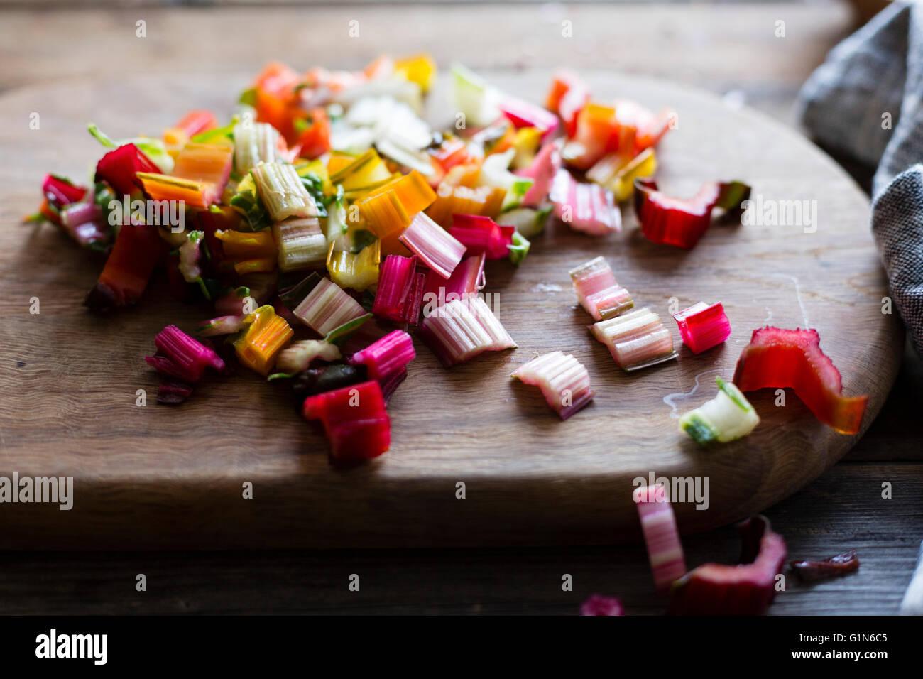 Chard vegetable stems Stock Photo