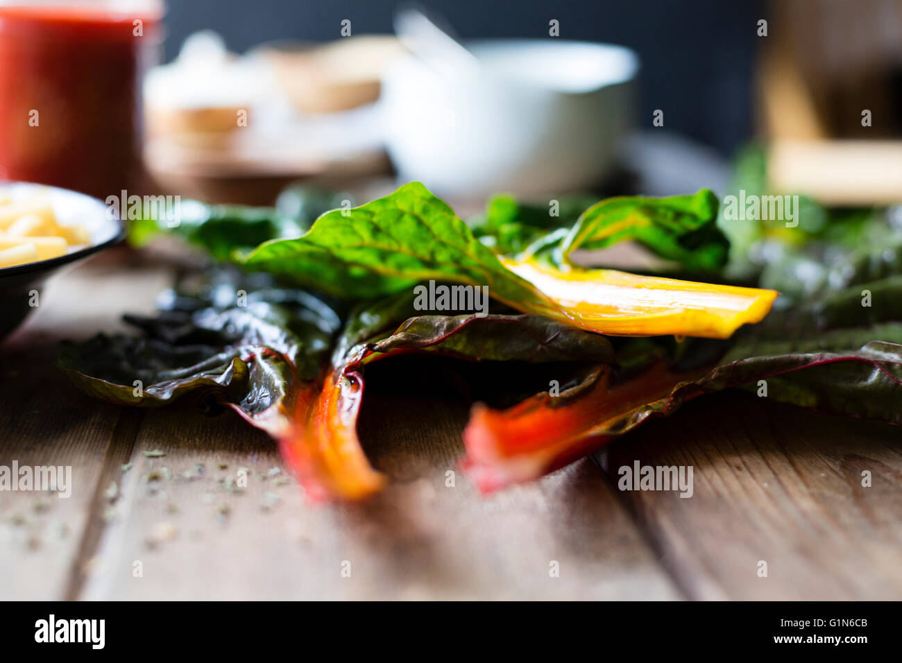 Chard vegetable stems - Stock Image