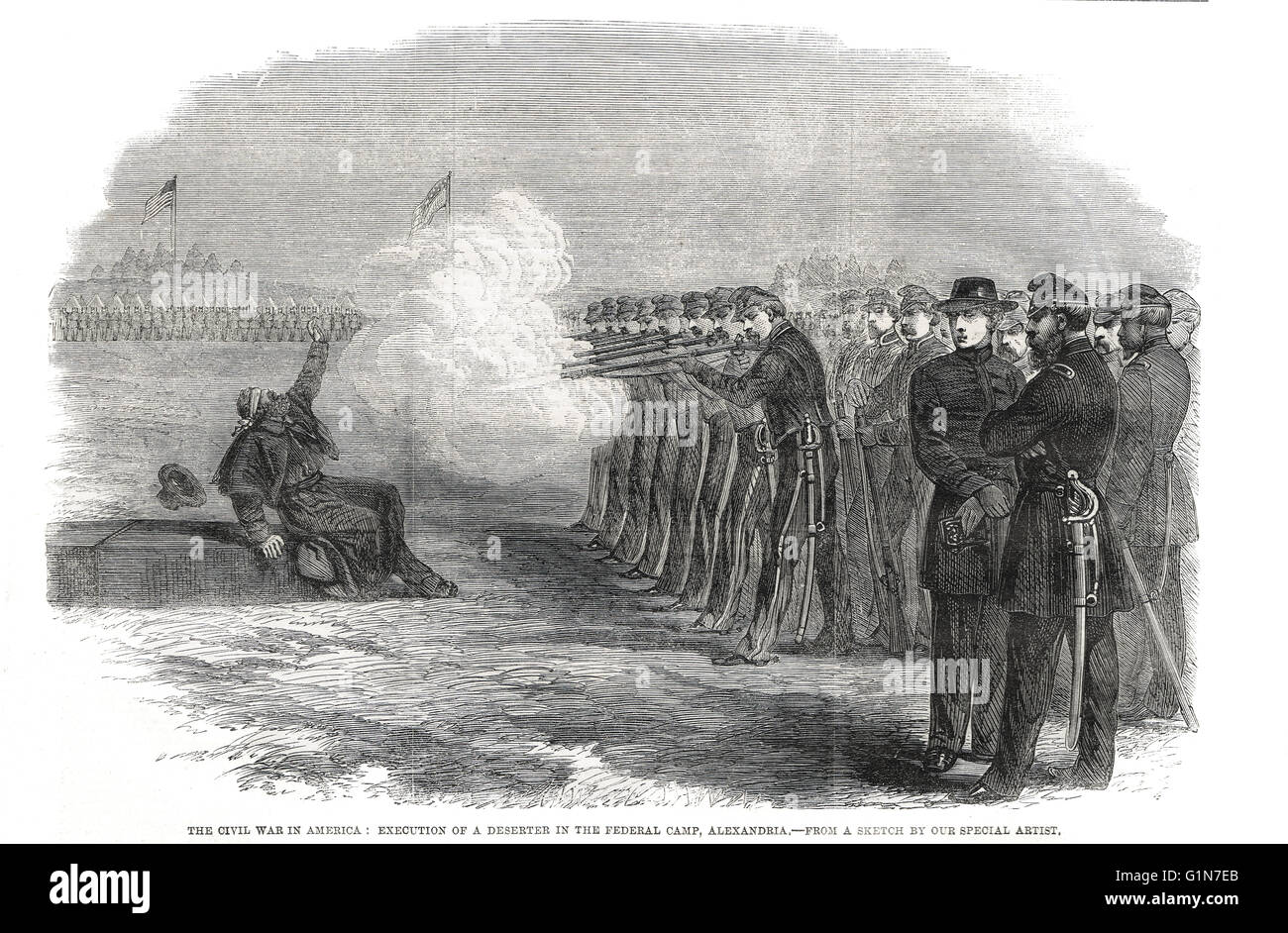 Execution of a deserter in The American Civil War, December 13, 1861 at Fairfax Seminary, Federal Camp, Alexandria - Stock Image