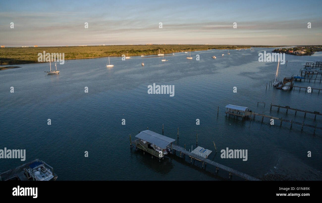 Aerial view of Indian River at New Smyrna Beach, FL - Stock Image