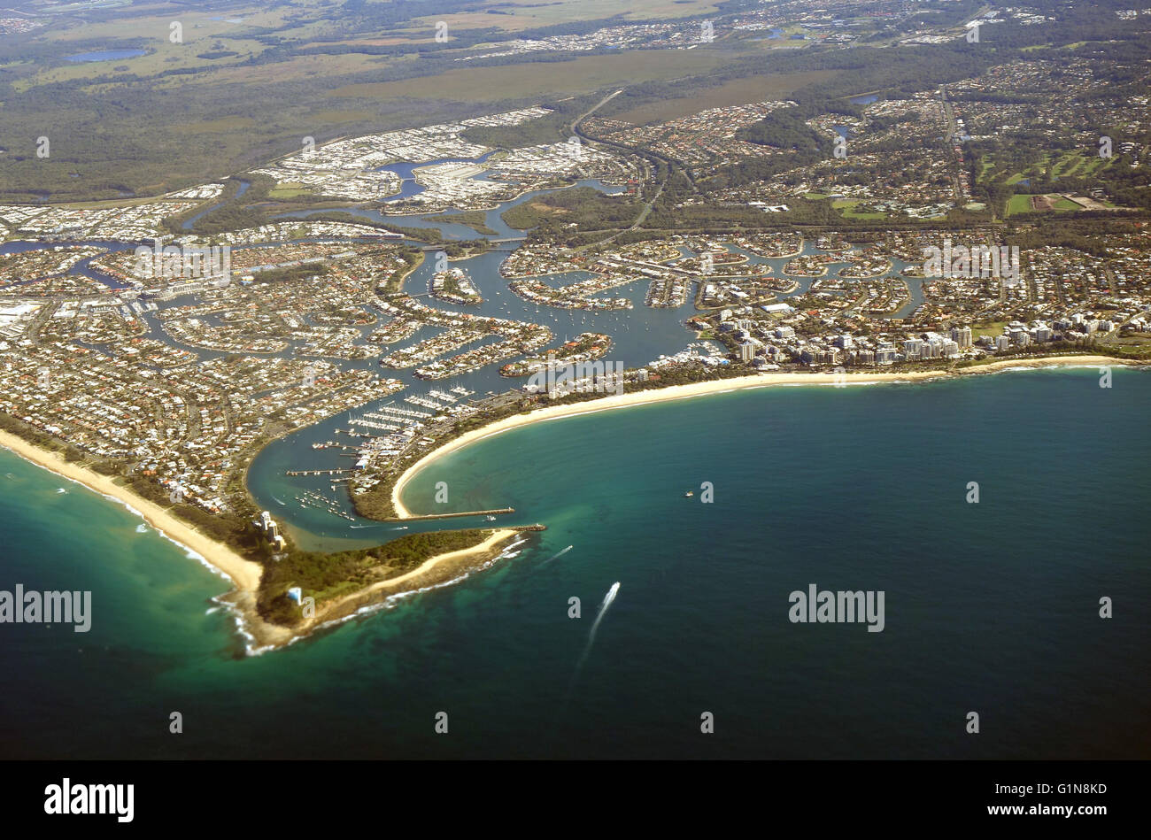 Aerial view of Mooloolaba, Point Cartwright and mouth of Mooloolah River, Maroochy Shire, Sunshine Coast, Queensland, - Stock Image