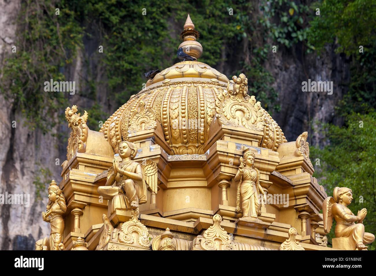 Sri Subramaniar Hindu Temple Gold Dome Architectural Detail at Batu Caves in Malaysia - Stock Image