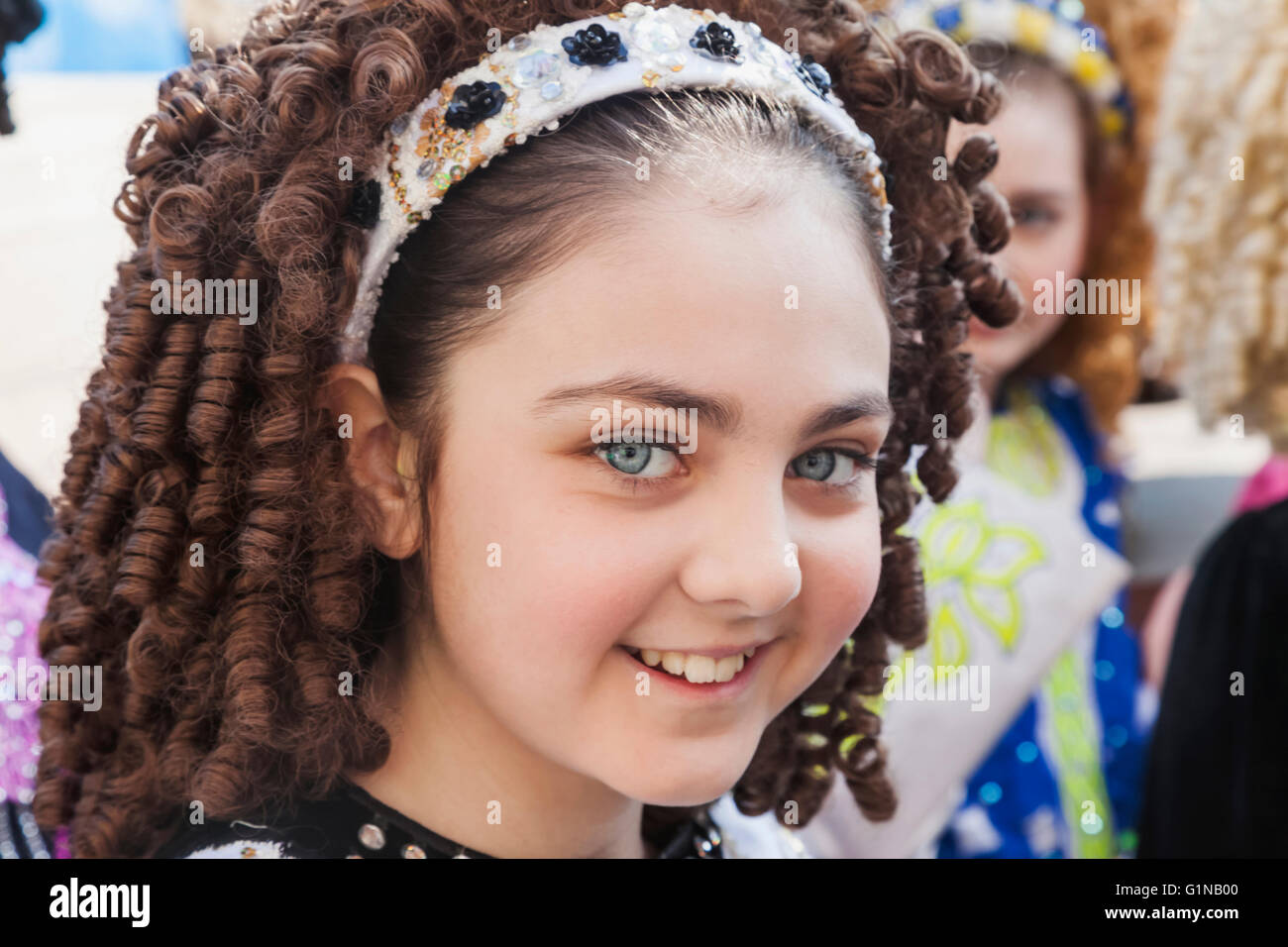 England, London, St.Patrick's Day Parade, Folk Dancer - Stock Image