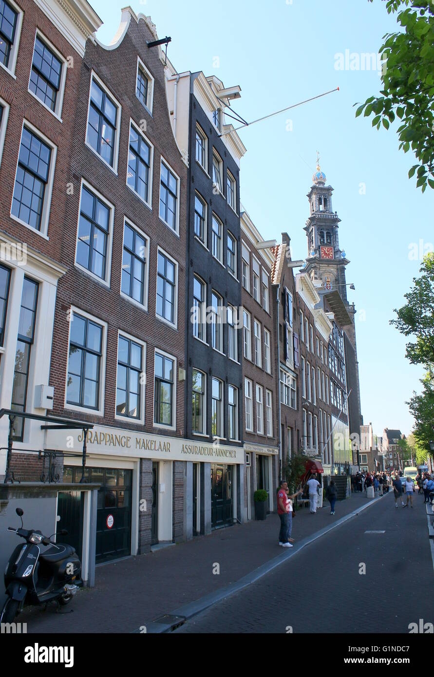 Prinsengracht canal with Anne Frankhuis - Anne Frank Museum at  Amsterdam, Jordaan, Area, Netherlands. Westerkerk - Stock Image