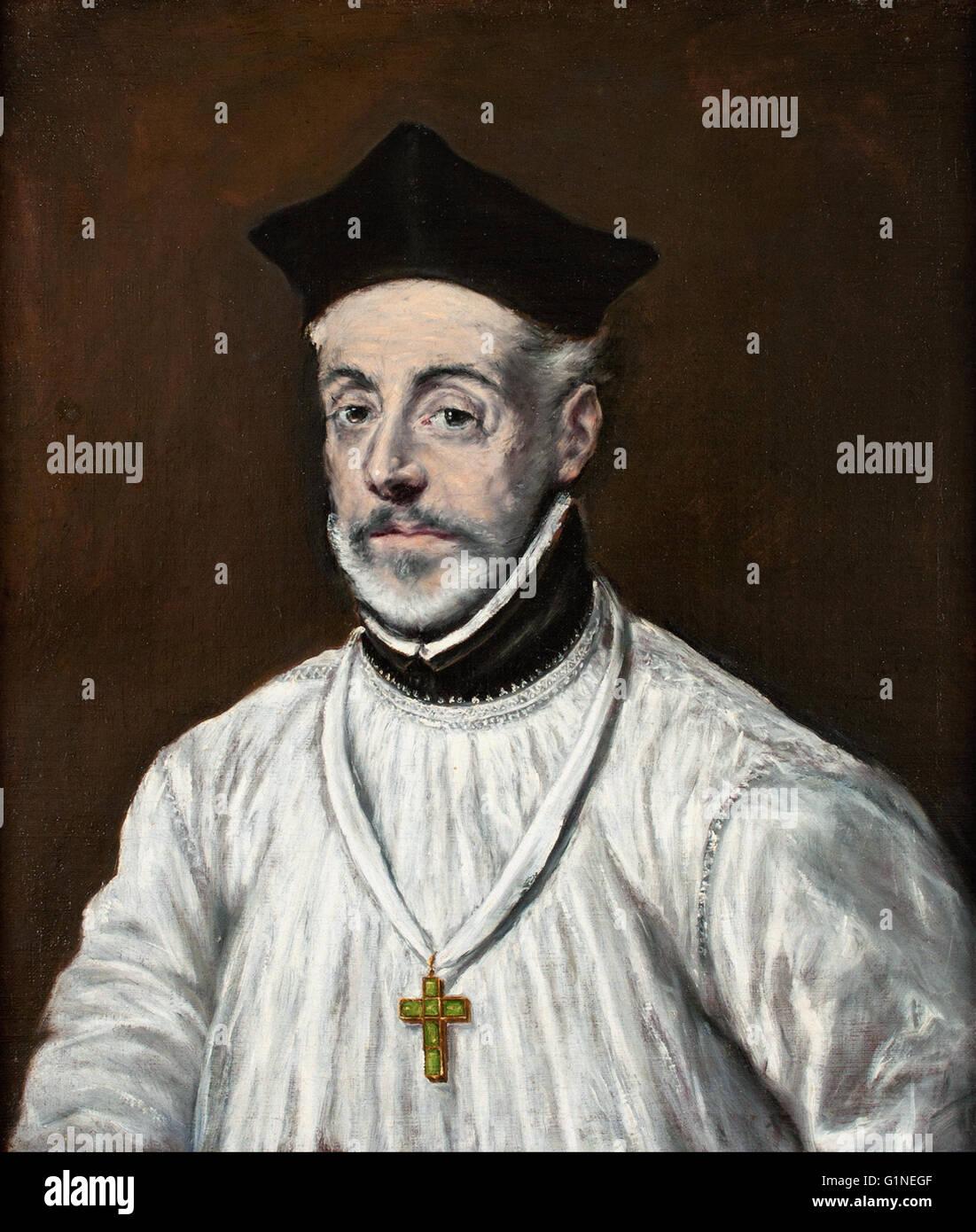 El Greco - Portrait of Diego de Covarrubias y Leiva  - Museo del Greco - Stock Image