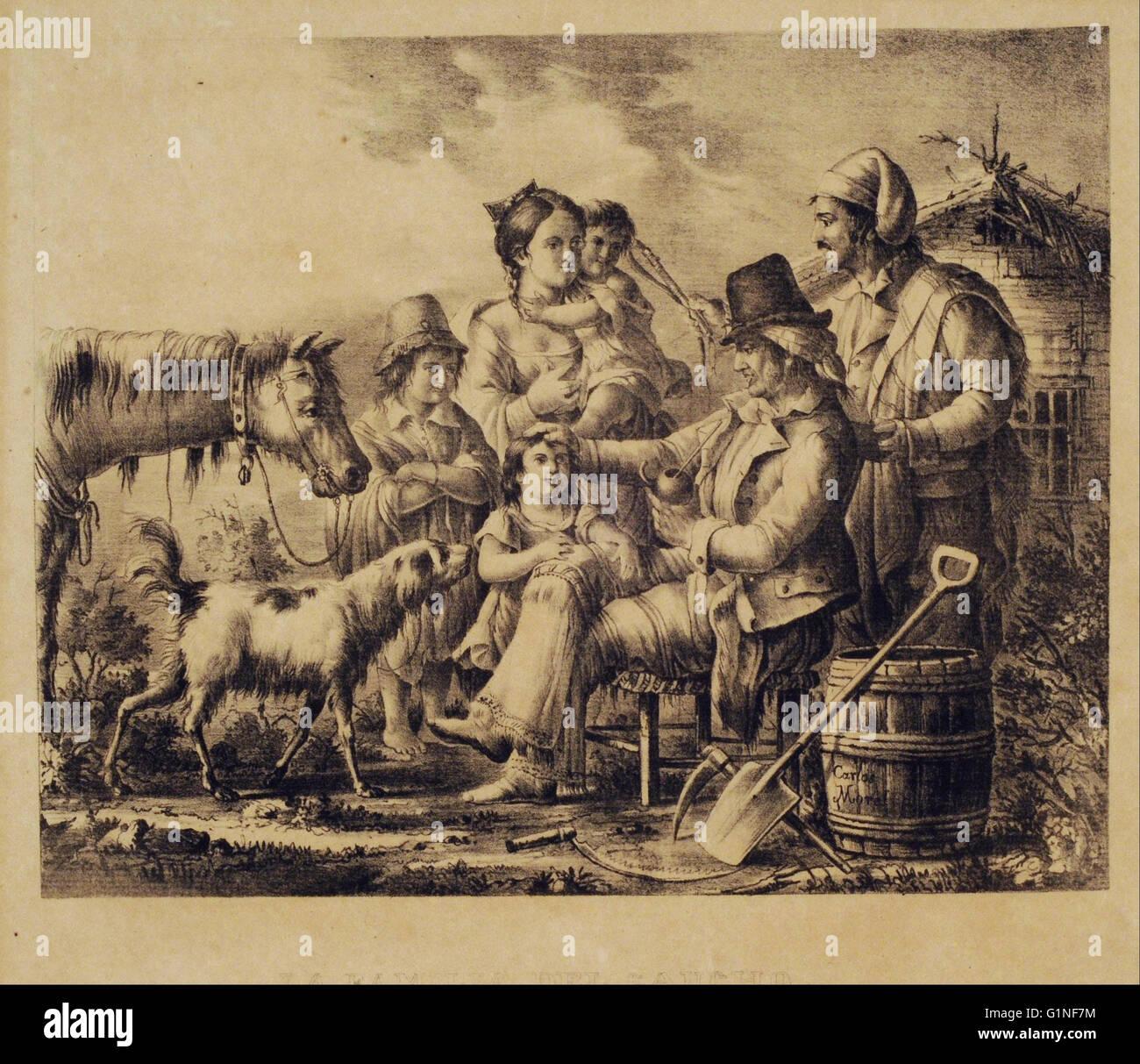 Grabado- Gregorio Ibarra - La familia del gaucho - Serie Grande   - Museo Nacional de Bellas Artes de Buenos Aires - Stock Image