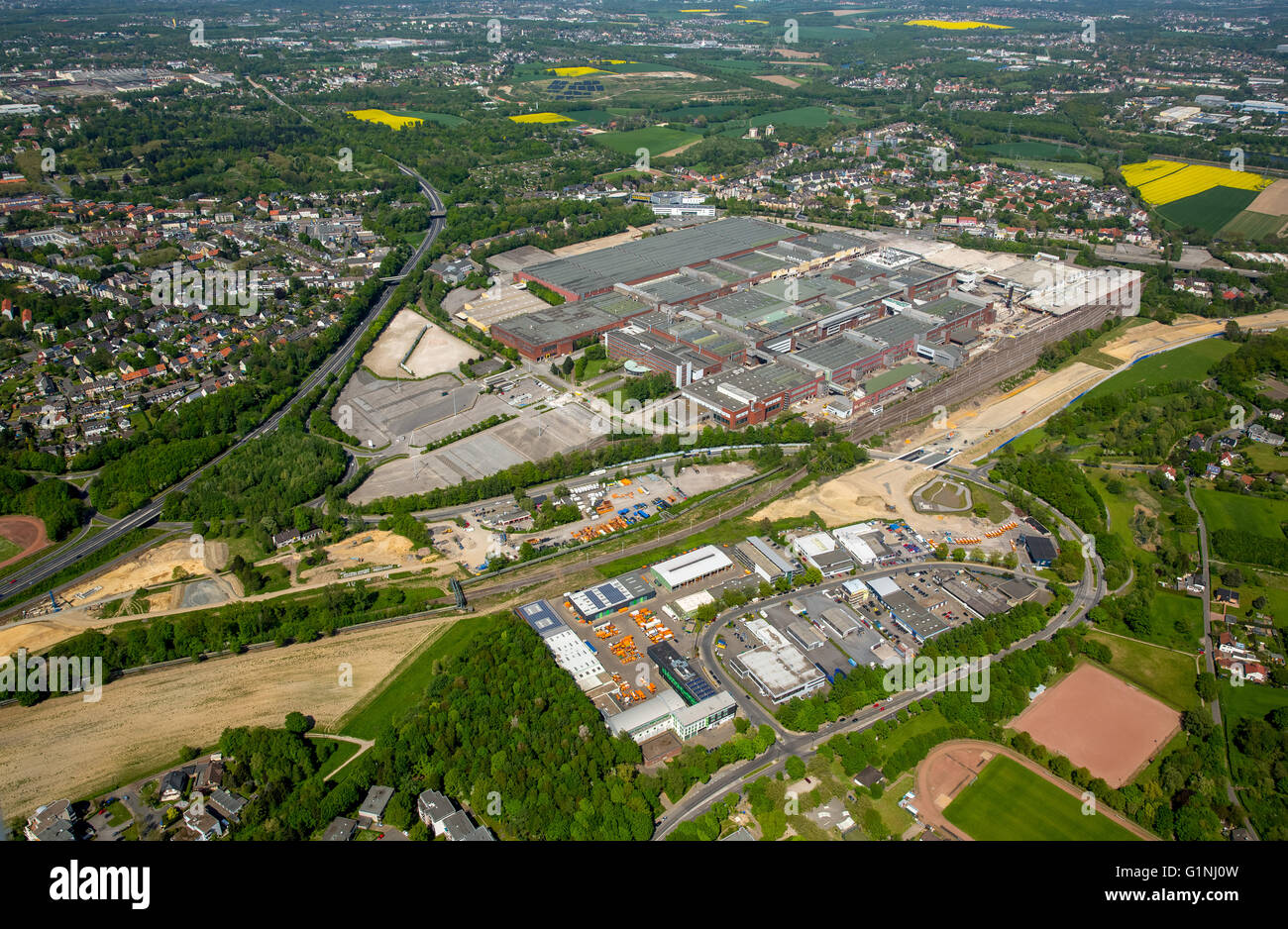 Aerial view, OPEL plant 1 Bochum, demolition of the former car factory, Bochum, Ruhr area, North Rhine-Westphalia, - Stock Image