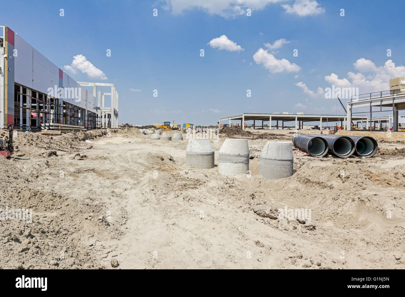 Concrete reinforcement pipe for drainage waste water from resident. Stock Photo