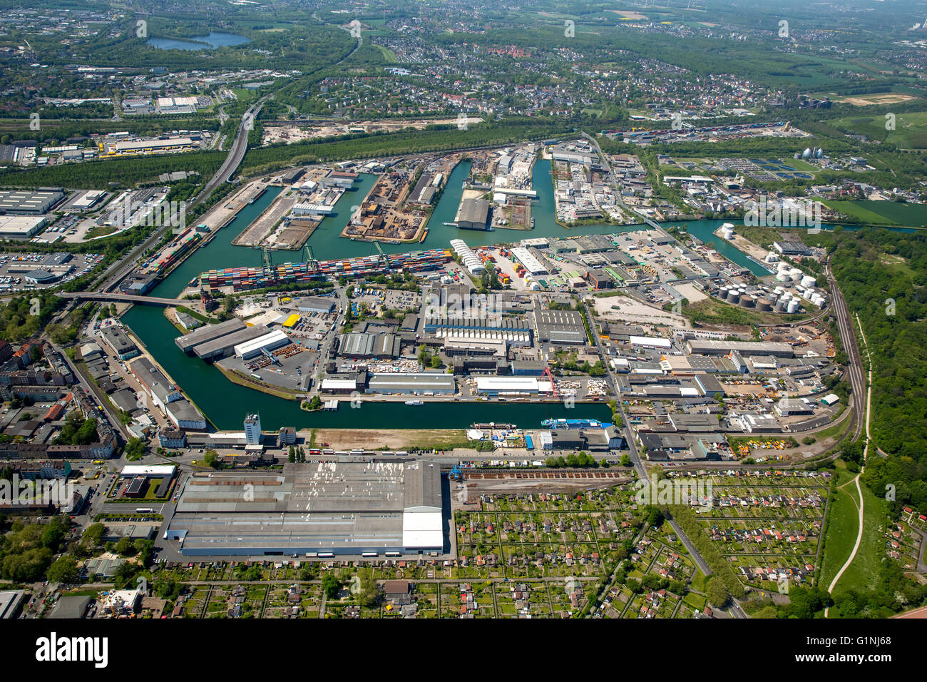 Aerial view, Dortmunder port, inland port, Dortmund-Ems Canal, container port, the Port of Dortmund AG, Old Port - Stock Image