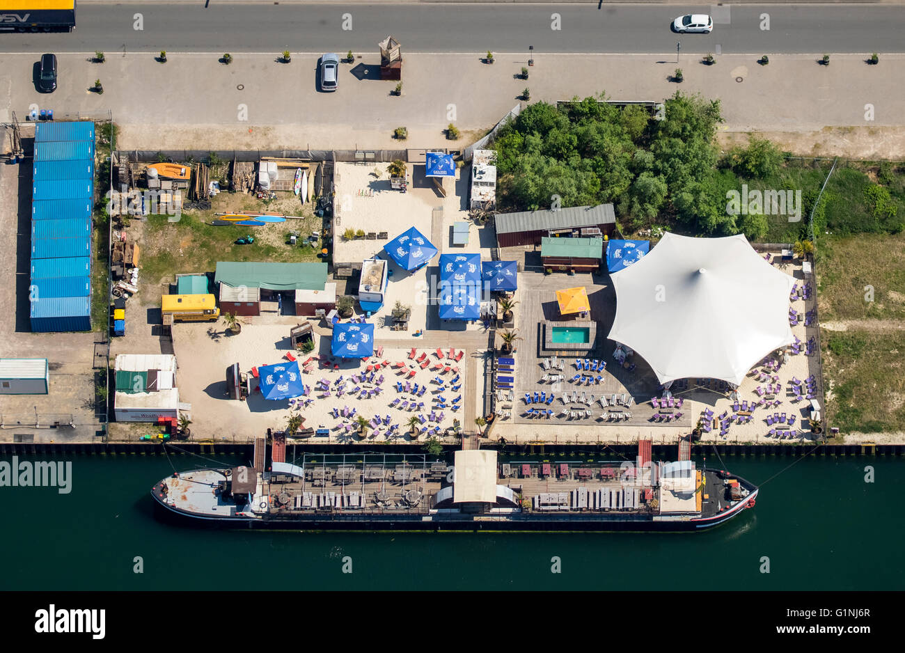 Aerial view, Dortmunder port, inland port, Mr Walter, Event ship, live music, football and parties as well as fish - Stock Image