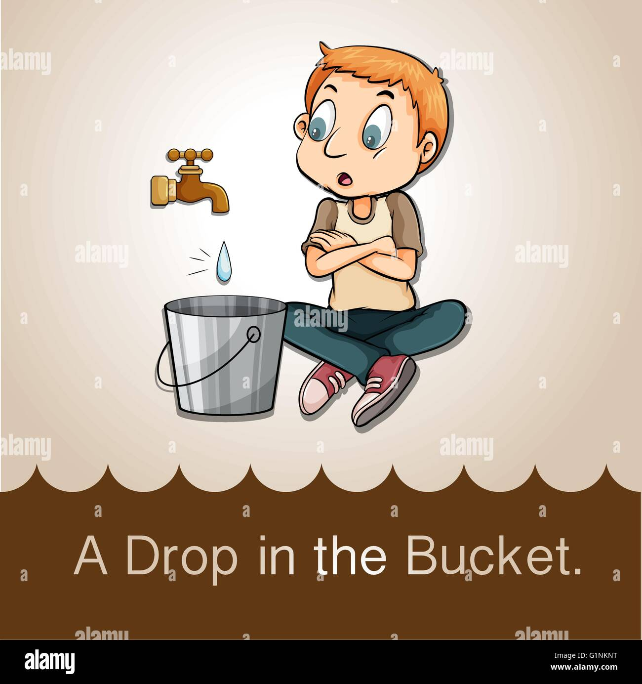 Idiom saying a drop in the bucket - Stock Image