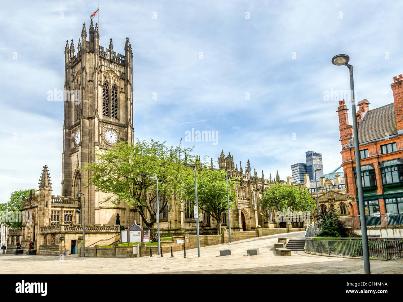 Manchester Cathedral is a Medieval church located on Victoria Street in central Manchester, England, UK - Stock Image