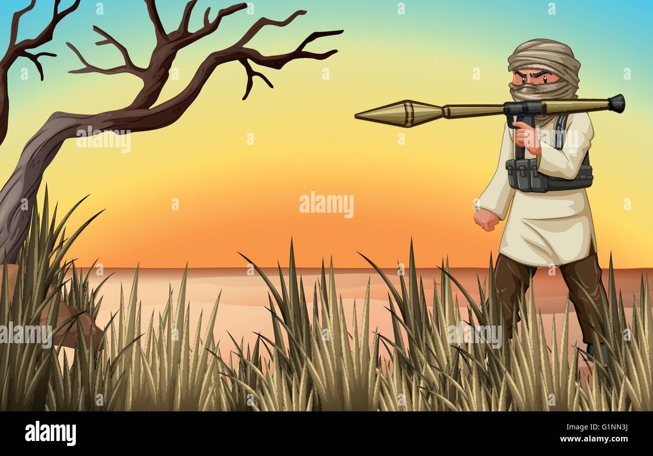 Terrorist with gun in the field illustration - Stock Vector