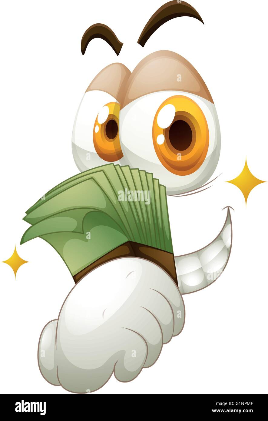 Money in hand on white illustration - Stock Image