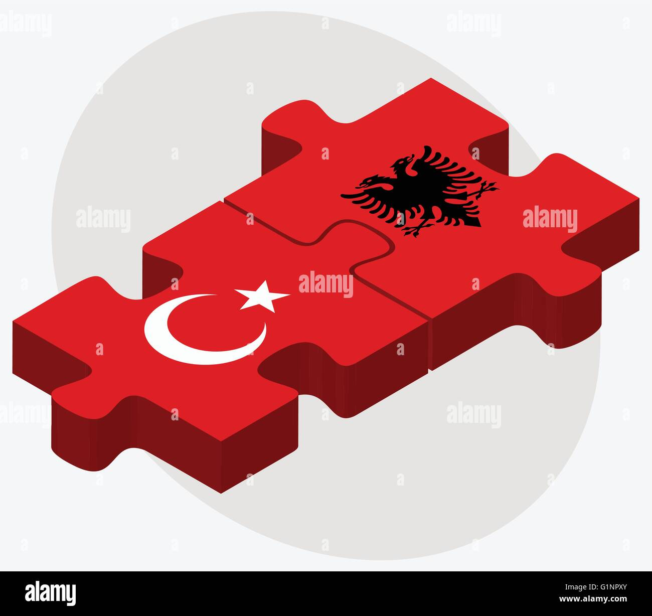 Turkey and Albania Flags in puzzle  isolated on white background - Stock Vector