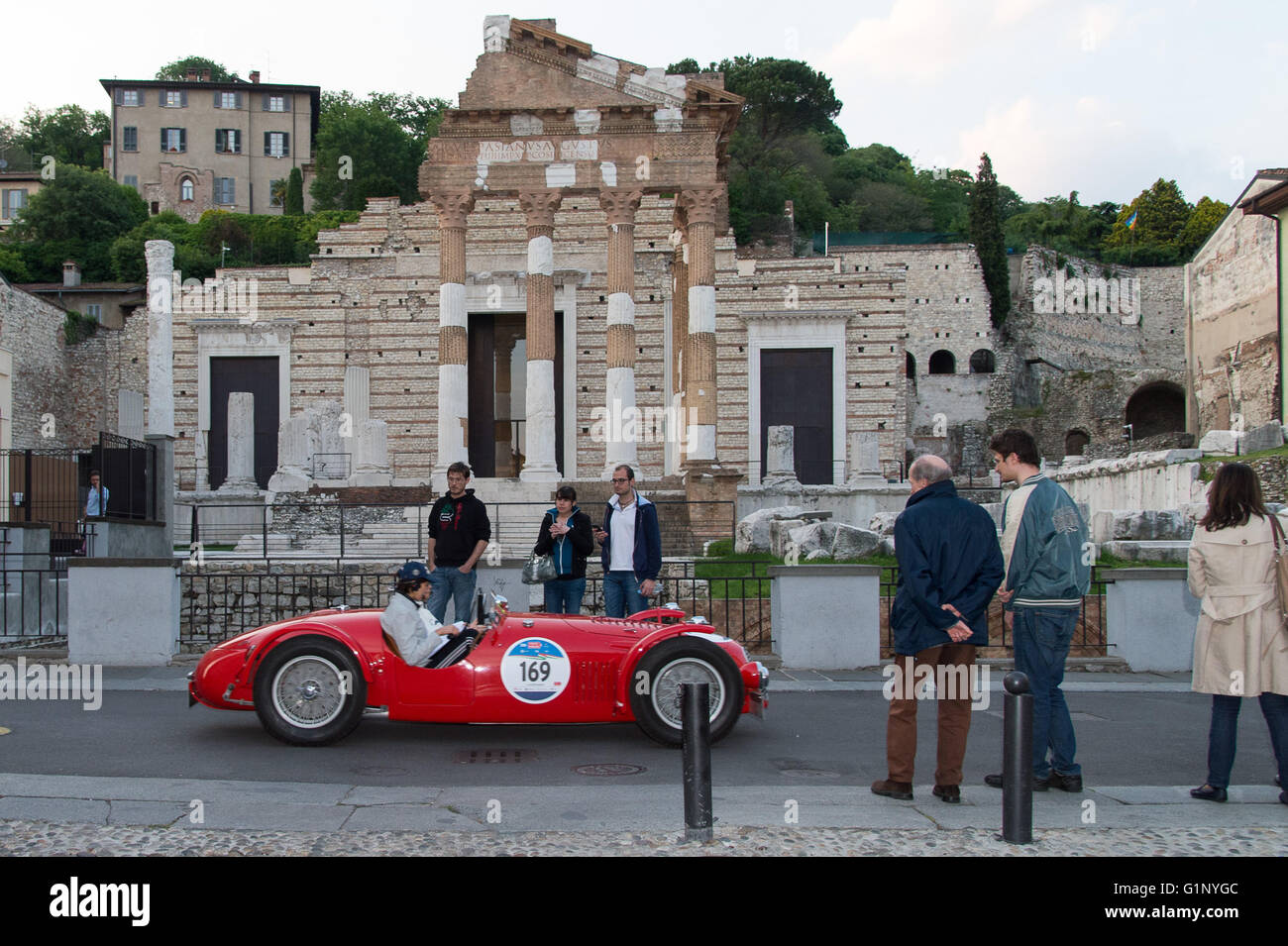 Brescia, Italy. 17th May, 2016. A red Maserati A6 GCS, built in 1948, takes part to the Roberto Gaburry trophy before - Stock Image