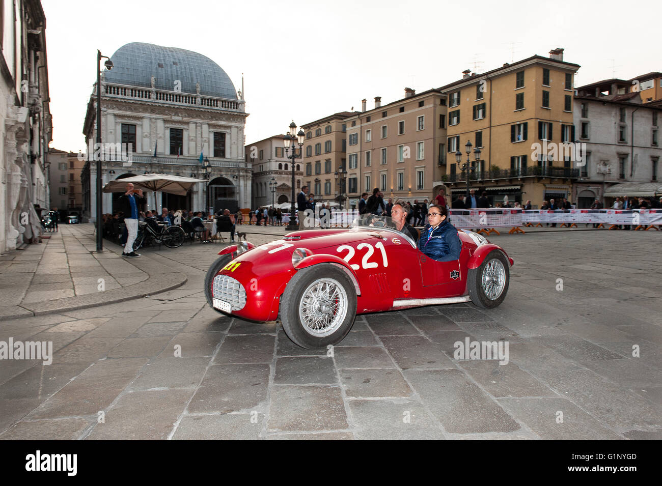 Brescia, Italy. 17th May, 2016. A red Ermini 1100 Sport, built in 1951, takes part to the Roberto Gaburry trophy - Stock Image