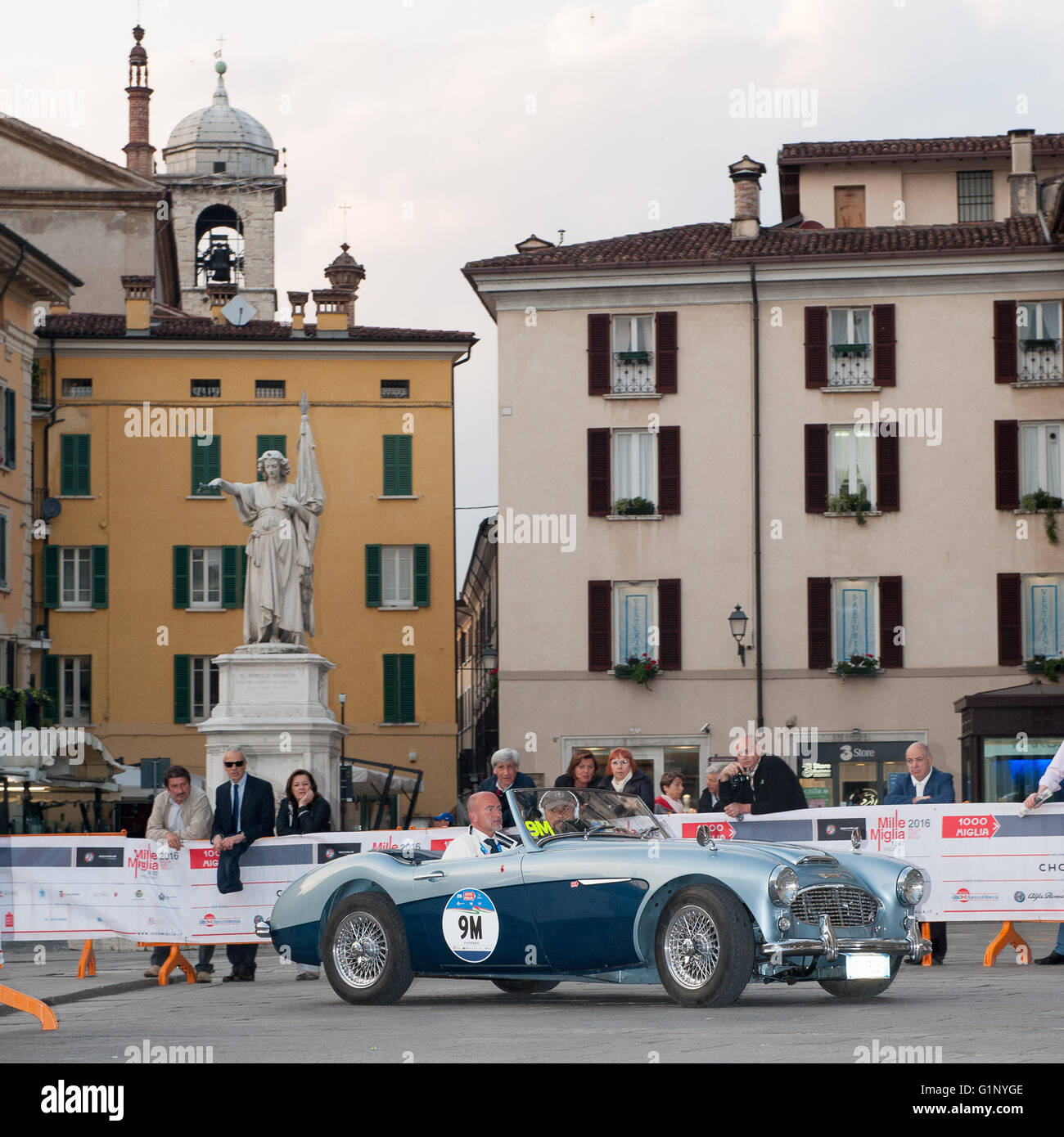 Brescia, Italy. 17th May, 2016. A blue Austin Healey 100/6 BN4, takes part to the Roberto Gaburry trophy before - Stock Image