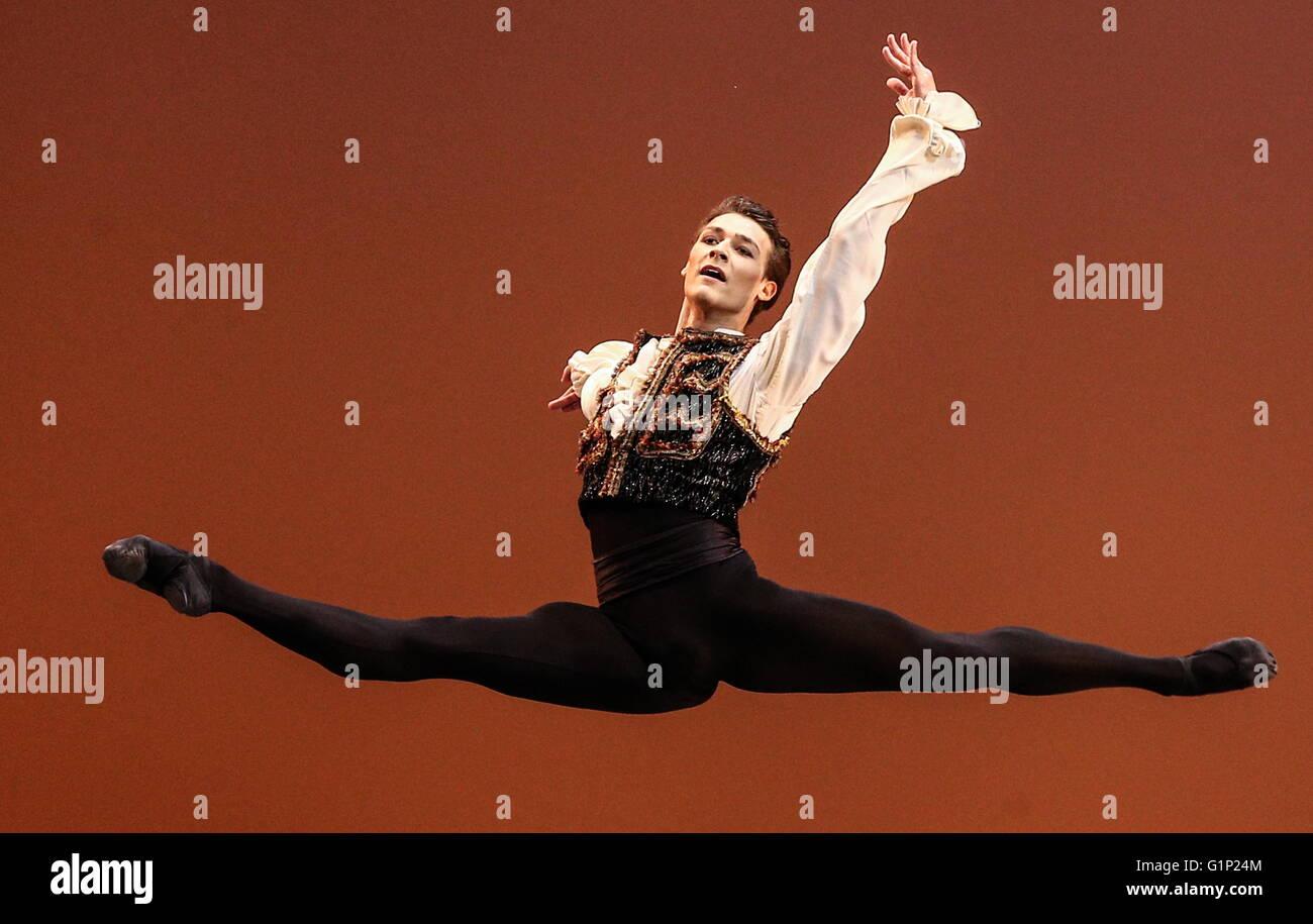Paris Opera Ballet principal dancer Hugo Marchand performs in a scene from Italian composer Cesare Pugni's La Esmeralda Stock Photo