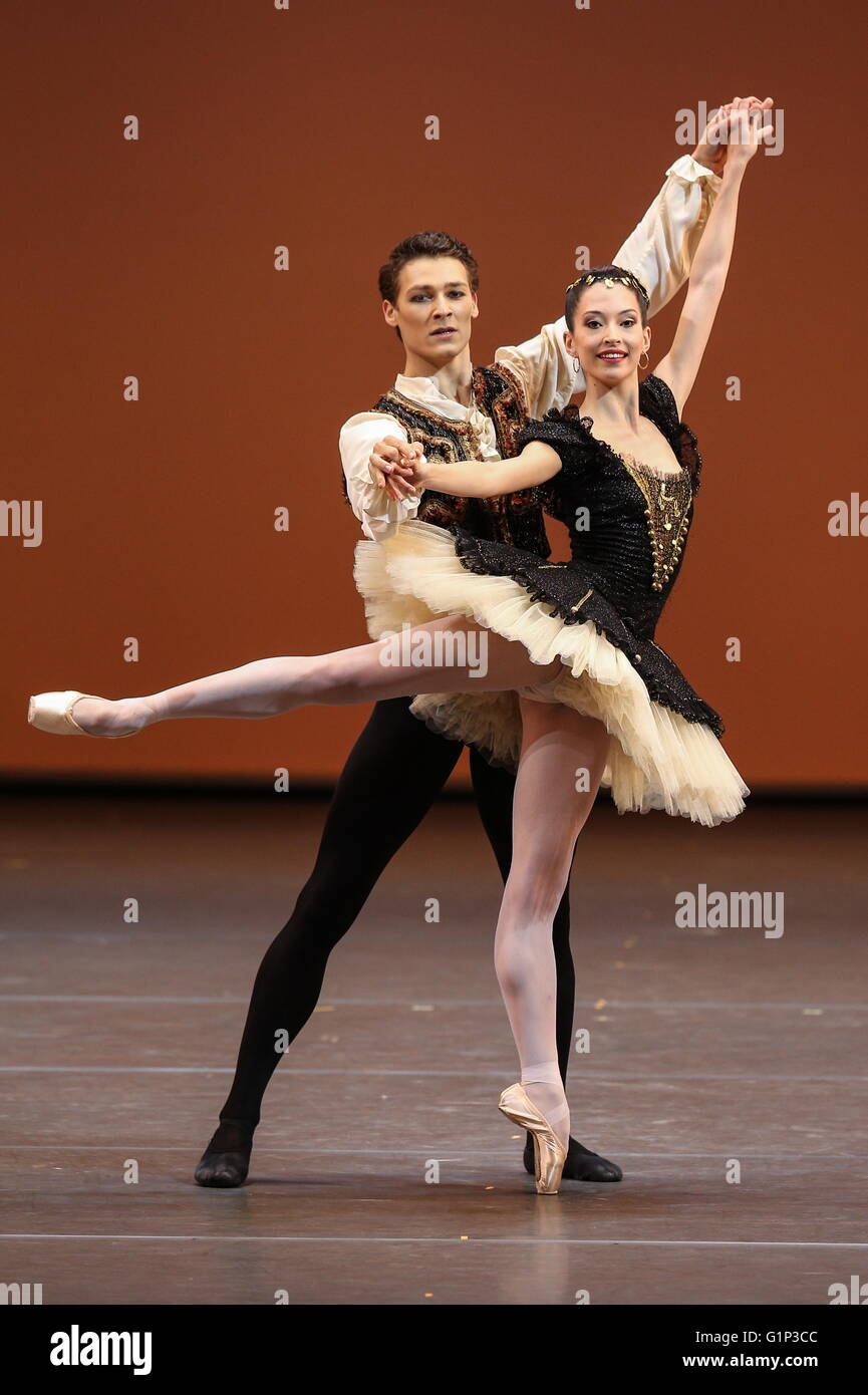 Paris Opera Ballet principal dancers Hugo Marchand (L) and Hannah O'Neill perform in a scene from Italian composer Stock Photo