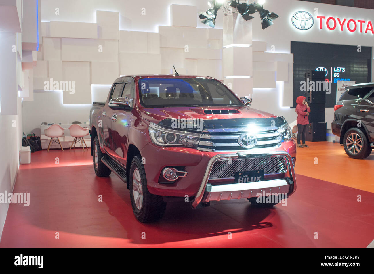 Makassar, Indonesia. 18th May, 2016. Toyota exhibits All New Hilux at GIIAS Makassar Autoshow in Makassar, Indonesia. - Stock Image