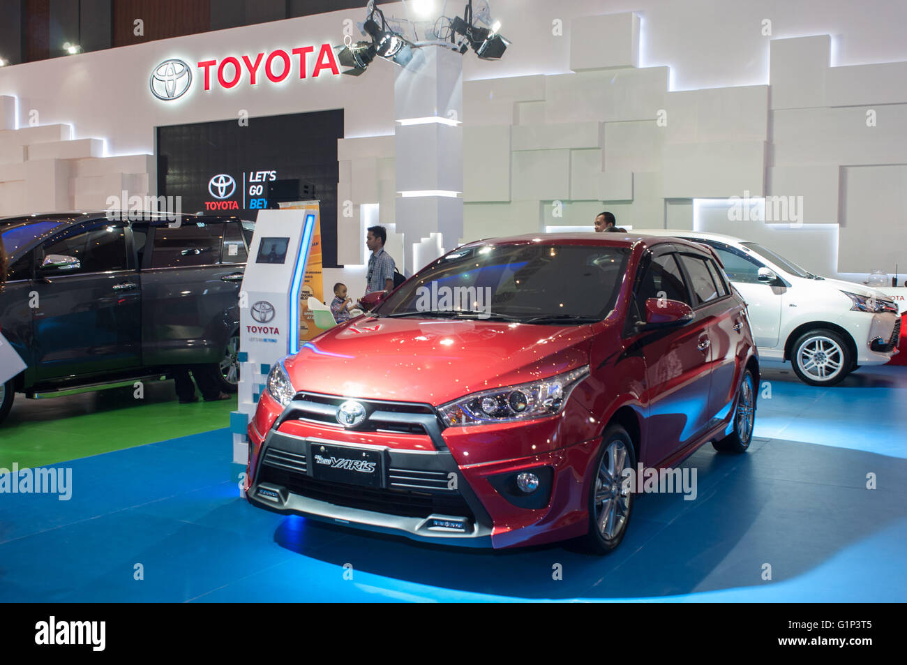 Makassar, Indonesia. 18th May, 2016. Toyota Exhibiths the All New Yaris at GIIAS Makassar Autoshow in Makassar, - Stock Image