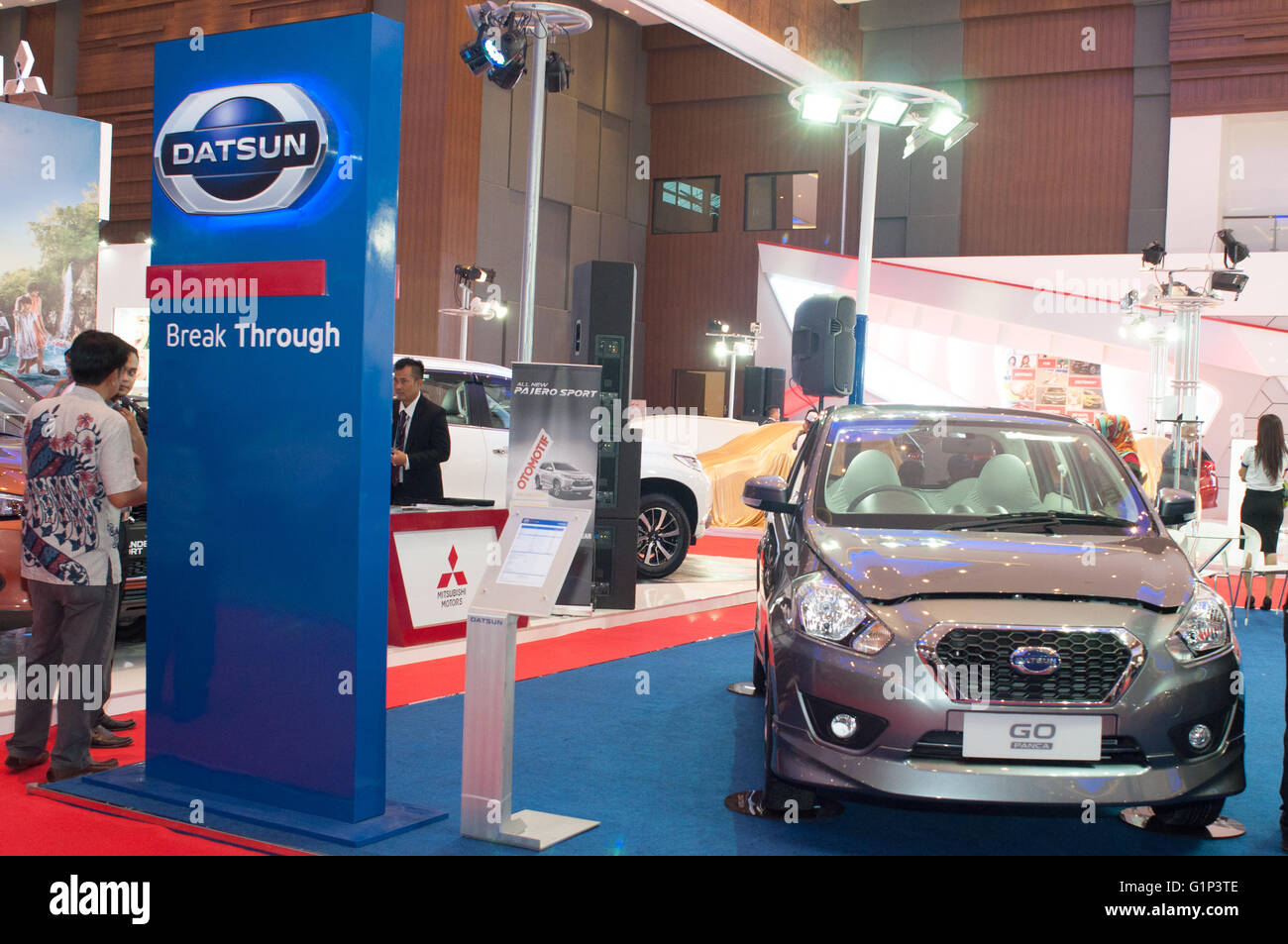 Makassar, Indonesia. 18th May, 2016. Datsun booth at GIIAS Makassar Autoshow in Makassar, Indonesia. Recent report - Stock Image