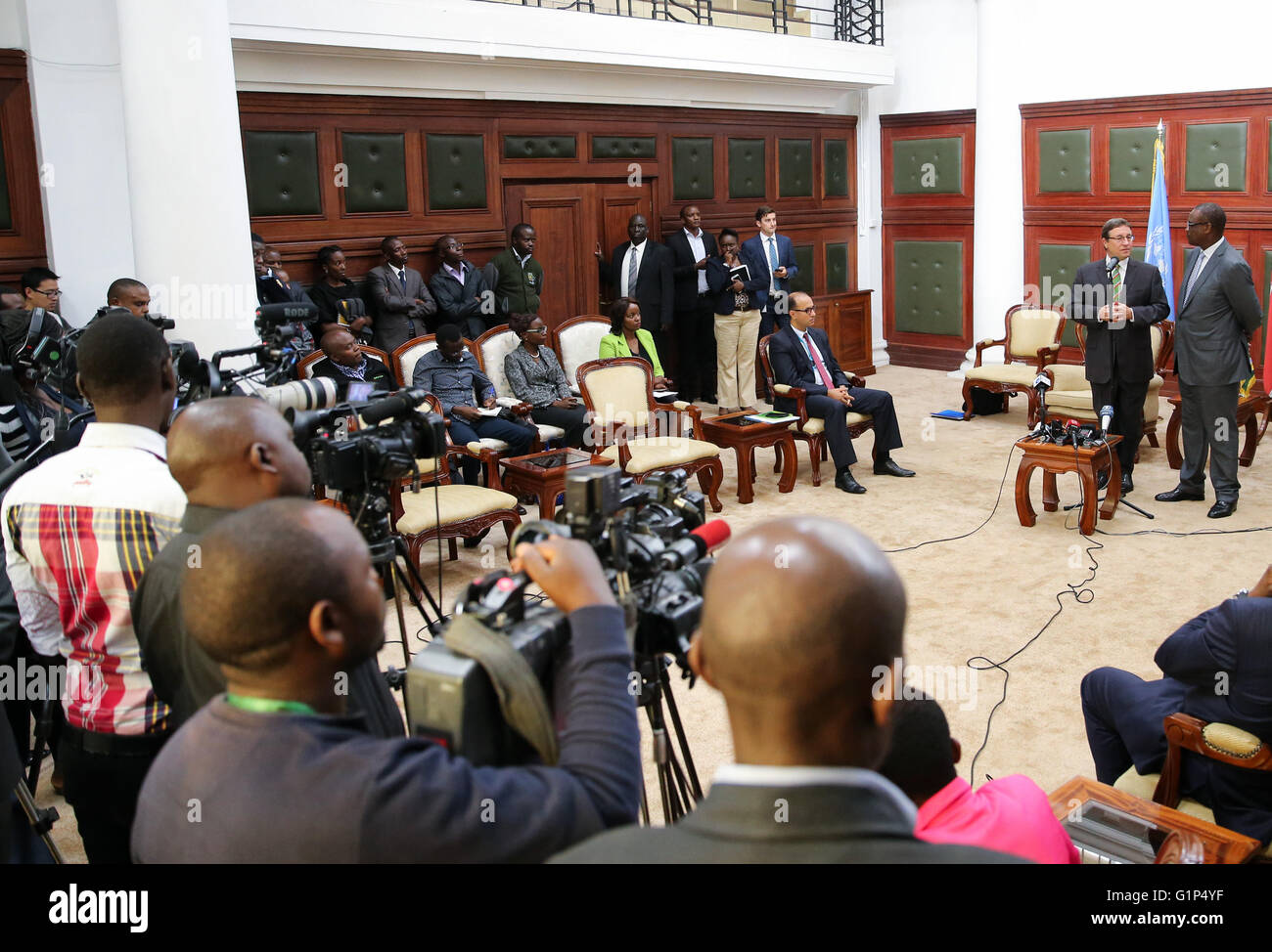 Nairobi. 18th May, 2016. Photo taken on May 18, 2016, shows a press conference held by the United Nations Environmental - Stock Image