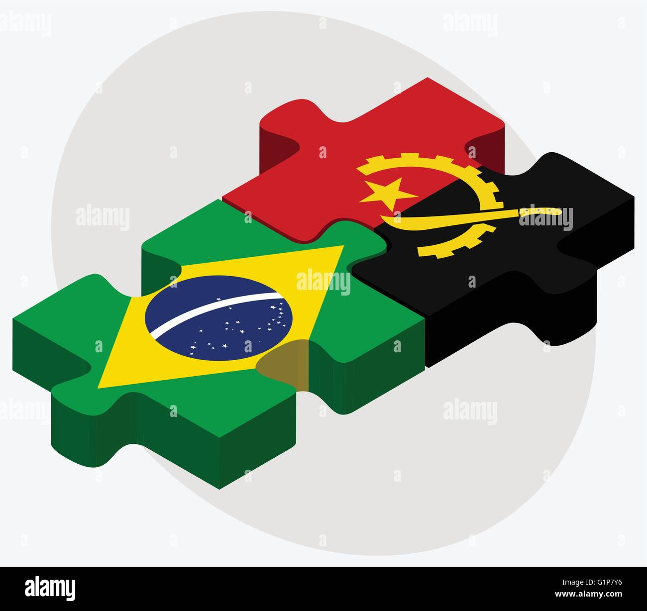Brazil and Angola Flags in puzzle  isolated on white background - Stock Vector