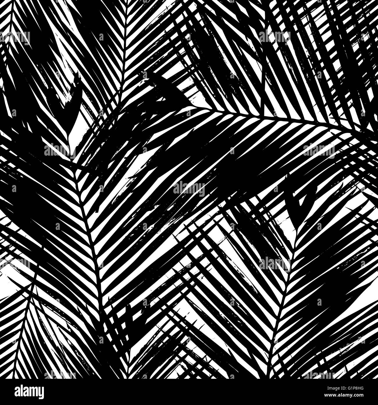 Seamless Repeating Pattern With Silhouettes Of Palm Tree Leaves In Black And White