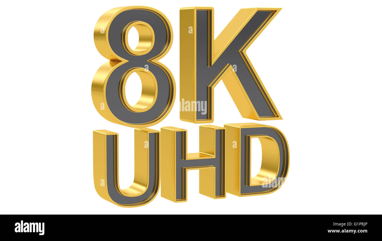 8K Ultra HD concept, 3D rendering isolated on white background - Stock Image