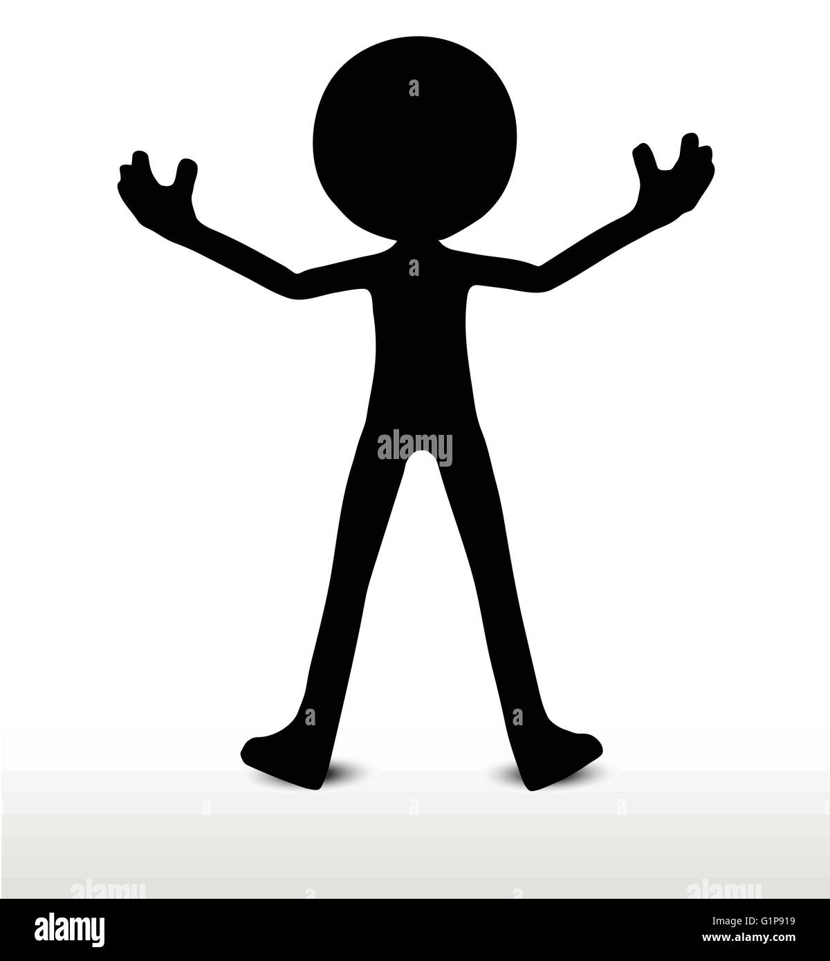 3d man silhouette, isolated on white background, power pose - Stock Vector