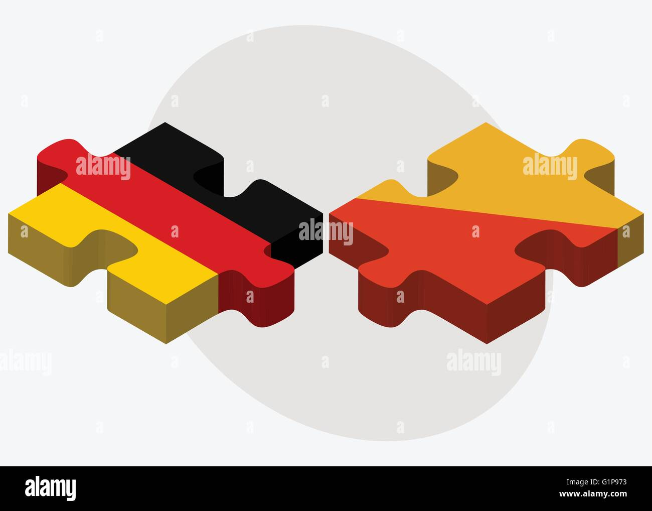 Germany and Bhutan Flags in puzzle  isolated on white background - Stock Vector