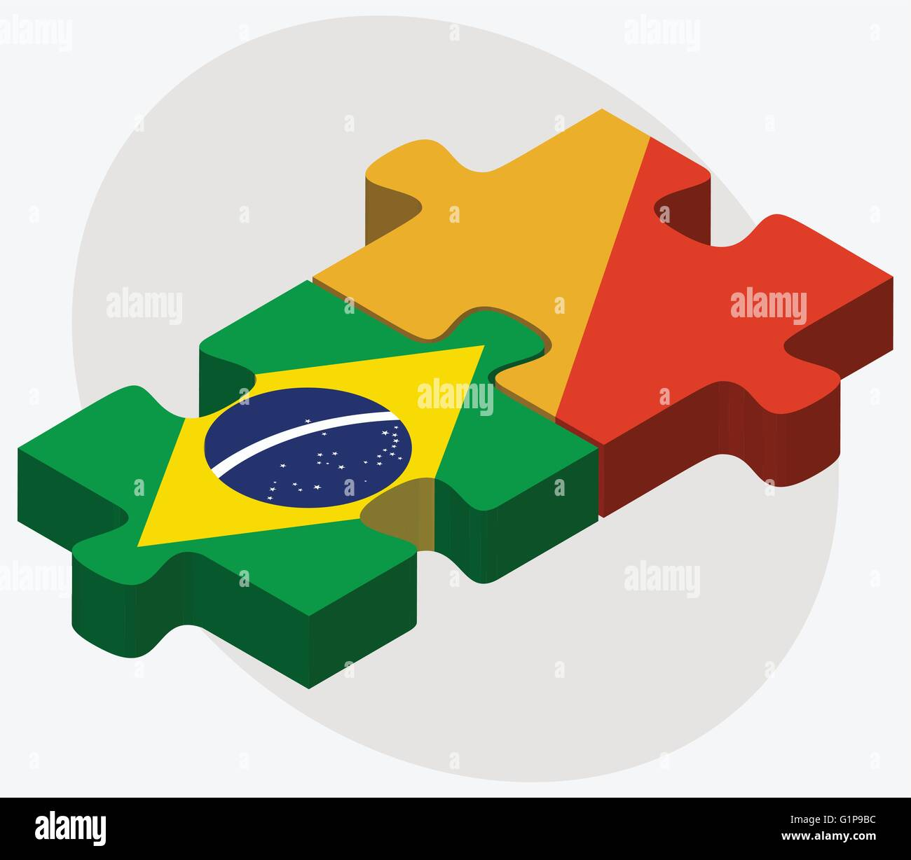 Brazil and Bhutan Flags in puzzle  isolated on white background - Stock Vector